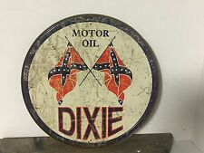 "~ Dixie Motor Oil ~ 12"" Round Metal Sign Gasoline Garage Rebel"