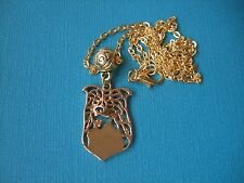 Border Collie Dog Face Necklace & Pendant Puppy Metal Chain Gold Tone Agility