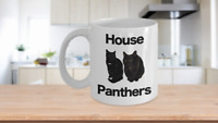 Black Cat Mug White Coffee Cup Funny Gift for House Panthers Owners Lover Rescue