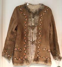 Vintage 1950s INUIT Suede Embroided Fur Jacket Brown Tan Aztec Navajo Floral