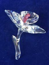 Gorgeous Swarovski Faceted Crystal Dark Pink Center Orchid Flower Figurine.