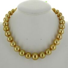 GENUINE GOLDEN AUSTRALIAN SOUTH SEA PEARL NECKLACE / ROUND / 11 - 15MM #SN212