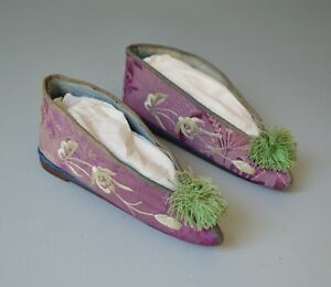 Asian Chinese Art Antique Miniature embroidered shoes   中国古董