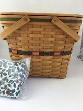 Longaberger 1995 Holiday Hostess Christmas Evergreen Basket Combo w Lid Riser