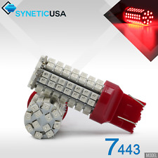 2x 7443/7440A Brake Tail Stop Dual Filament LED Light Bulbs 3528 Chip 96-SMD Red