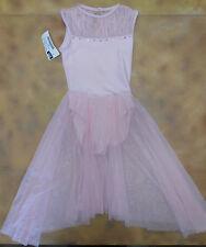 NWT Pink Mesh Lyrical Dance Skate Dress Rhinestone Trim Girls Large Child