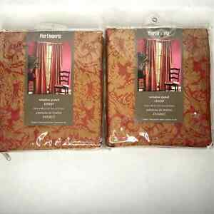 Pier 1 Imports Set of 2 Damask & Striped Window Panel Curtains Lined