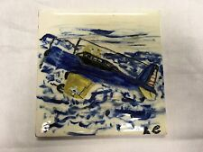 "RARE WHEELING TILE HAND PAINTED WW2 FIGHTER PULLING OUT OF DIVE SIGNED 6"" x 6"""