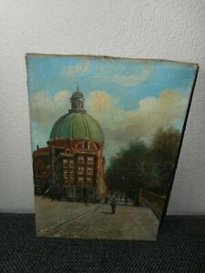 Very old oil painting,{ City scene with a church and people, is signed }.