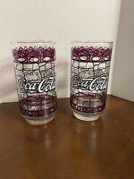 "VINTAGE ""Coca-Cola"" Glasses Unique Purple Tiffany Circa 1970's Set of 2"