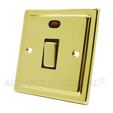 Victorian Polished Brass 20 Amp Switch Double Pole Switch w/ Neon Indicator blac