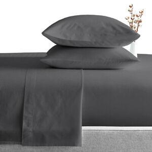 600 TC 100%Egyptian Cotton Luxury Soft Sheet Set King Size Dark Grey Deep Pocket