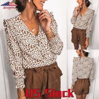Women VNeck Leopard Print Shirt Top Loose Casual Long Sleeve Button Tunic Blouse