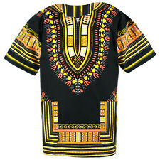 Cotton African Dashiki Mexican Poncho Hippie Tribal Boho Shirt Black ad14y