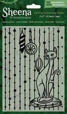 "SALE New Sheena Douglass Christmas Embossing Folder 5x7""  Purrfect Christmas"
