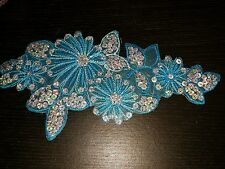 Turquoise flower sequin embroidery patch lace applique motif dress dance costume