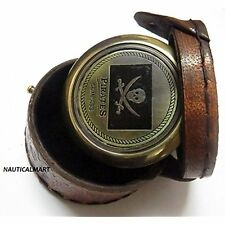 """2"""" Pocket Antique Brass Compass Pirates Of Caribbean Jack Sparrow  Leather Case"""