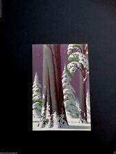 Vintage Unused Eyvind Earle Xmas Card Winter Forest & Snow Covered Tree