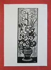 """Franz WEISS (1921-2014) - """"NARZISSEN UND PRIMELN"""" - Orig. Holzschnitt/Handdruck"""