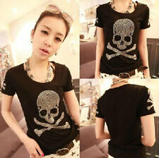 FD4256 Women Girl Gothic Punk Skull Rhinestone Top Blouse Short Sleeve T Shirt