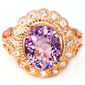 NATURAL AAA PURPLE AMETHYST OVAL & WHITE CZ STERLING 925 SILVER FLOWER RING 8