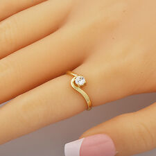 Solitaire Cubic Zirconia Yellow Gold Filled Band Ring Size 7.5 Free Shipping