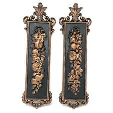 Pair Of Vintage Syroco Wall Plaques Flower And Fruit Design Coppercraft Style