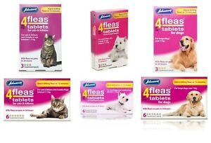 Johnsons Veterinary 4fleas Tablets Cats Kitten Dogs Puppy Flea 3 & 6 Treatment