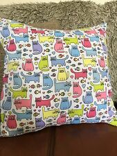 Cats, fish cushion cover, cotton with faux suede back, County cottage style
