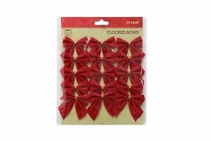 Red Flocked Bows 15 Pack Christmas Decoration Party 7cm Each