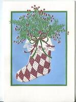 VINTAGE CHRISTMAS EMBOSSED PLAID STOCKING & CHRISTMAS SNOW CHILD SQUIRREL CARD