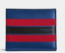 Coach 58349 Double Bill Varsity Leather Wallet Mens Blue Red Black Stripe NWT
