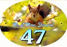 plaque de maison - boite aux lettres écureuil inscription au choix réf 70