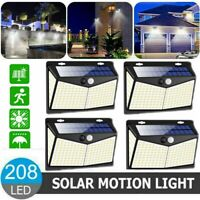 2/4 208LED Solar Power PIR Motion Sensor Wall Light Outdoor Garden Security Lamp