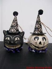 Set 2 NWT Black White GHOST & BLACK CAT HEAD Witch Hat HALLOWEEN Ornament Decor