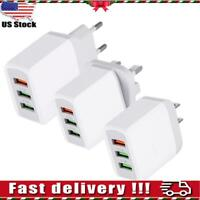 USB Fast Charger Charging Multi Quick Charging 3.0 Wall Charge US 3-Port Adapter