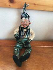 Estate Poseable Elfin Jester w Green & Black Striped Pants w Plaid Vest Figure –