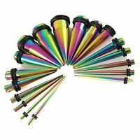 Taper Stretching Kit 14G-00G Rainbow Surgical Steel Gauges Set 18-Pieces