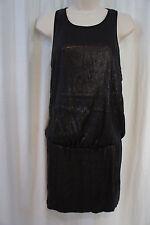 Laundry by Shelli Segal Dress Sz 8 Black Sleeveless Sequined Blouson Cocktail