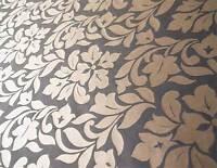 Black & Gold Fabric. 100% Silk Damask Drapery Fabric Floral Jacquard