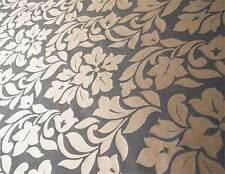 Black & Gold Fabric. 100% Silk Damask Drapery Fabric Floral Jacquard