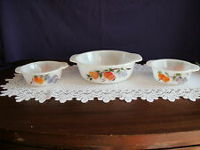 FIRE KING  GAY FAD CASSEROLE DISHES 1 1/2 QUART & TWO 1 PINTS BEAUTIFUL PATTERNS
