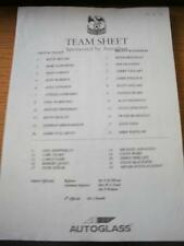 27/09/1997 Teamsheet: Crystal Palace v Bolton Wanderers (Folded). No obvious fau