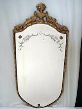 Vintage Gold Framed Wall Mirror with Etched Floral Design