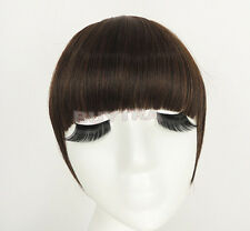 FadClassic Fringe Clip In On Bangs Straight Hair brown black WIG faux hair H_ti