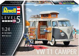 Revell Germany 7674 1960's Volkswagen VW T1 Samba Bus Camper Van model kit 1/24