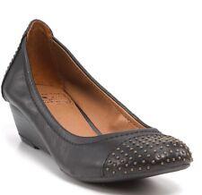 Women's LUCKY BRAND Felony Shoes Demi Wedge Studded Toe Black Leather Sz 6M
