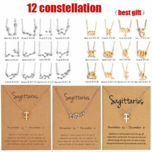 12 Constellation Pendant Necklace Zodiac Women Clavicle Chain Jewelry Wholesale