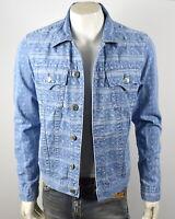 True Religion Men's Blue Mojave Ikat Print Slim Denim Trucker Jacket - 102024