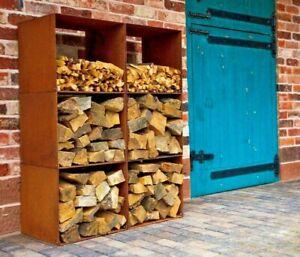 Log Store Box/Corten Steel/Metal/Modular/Cor-Ten/Firewood Storage/UK made